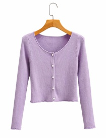 Fashion Purple Single-breasted Round-neck Slim-fit Knitted Sweater