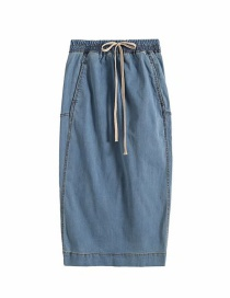 Fashion Denim Color Denim Half-length Skirt With Drawstring Back