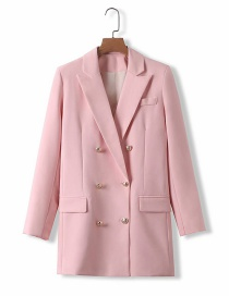 Fashion Pink Long Suit Jacket With Metal Buckle