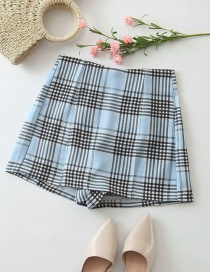 Fashion Blue Checked Print Straight Short Skirt