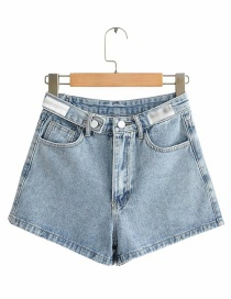 Fashion Blue Washed High-rise Wide-leg Denim Shorts