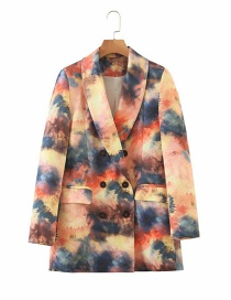 Fashion Color Mixing Double-breasted Blazer With Floral Print