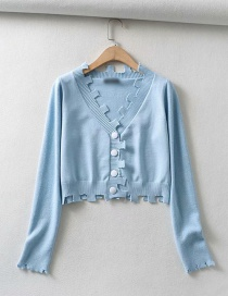 Fashion Blue V-neck Single-breasted Irregular Sweater Sweater
