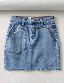 Fashion Blue Denim Skirt With Raw Edge Pockets