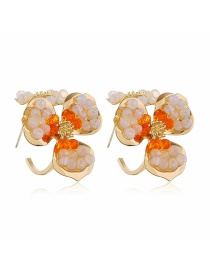 Fashion White Flower Resin Crystal Alloy Earrings