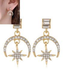 Fashion Yellow Geometric Diamond Pentagram Moon Earrings
