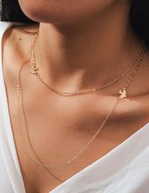 Fashion Golden Peace Dove Alloy Double Necklace
