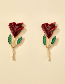 Fashion Red Drop Oil Rose Alloy Contrast Color Earrings