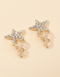 Fashion Golden Five-pointed Star Diamond Alloy Earrings