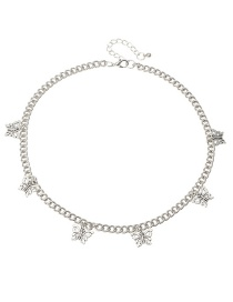 Fashion Silver Butterfly Alloy Hollow Tassel Necklace