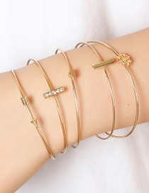Fashion Golden Arrow Geometry Diamond Love Alloy Bracelet Set