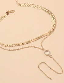 Fashion Golden Alloy Crystal Leaf Chain Multi-layer Necklace