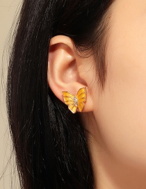 Fashion Yellow Micro-set Zircon Butterfly Drop Oil Alloy Earrings