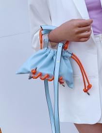 Fashion Sky Blue Drawstring Shoulder Messenger Handbag