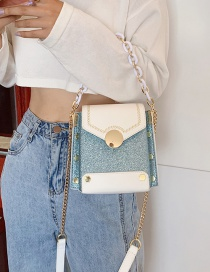 Fashion White With Blue Crossbody Chain Shoulder Bag
