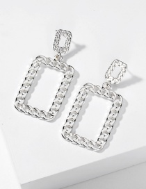 Fashion Silver Large Rectangular Flat Earrings With Metal Flat Chain