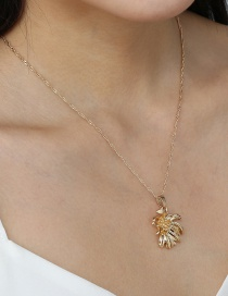 Fashion Gold Color Metal Chrysanthemum Pendant Water Wave Chain Necklace