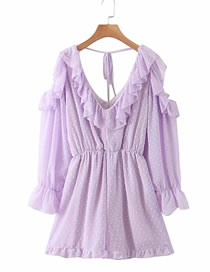 Fashion Purple Purple Lace Ruffle Jumpsuit