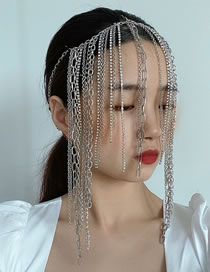Fashion Silver Cross Chain Tassel Chain Hair Accessory