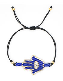 Fashion Blue Section Two Fringed Rice Bead Braided Palm Rivet Multilayer Bracelet