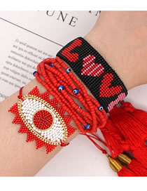 Fashion Set Rice Beads Braided Eye Multi-layer Tassel Bracelet
