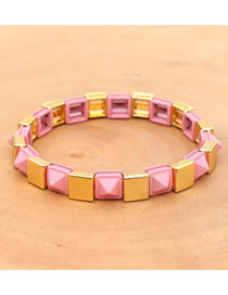 Fashion Pink Zinc Alloy Braided Rivet Bracelet