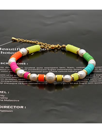 Fashion Color Woven Rainbow Clay Pearl Bracelet