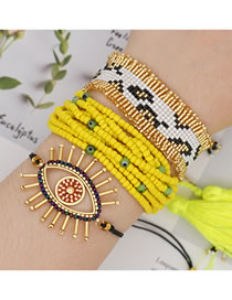 Fashion Set Rice Beads Braided Eye Multi-layer Bracelet