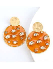 Fashion Orange Round Resin Earrings With Diamonds And Pearls