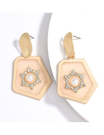 Fashion Pink Polygonal Alloy Earrings