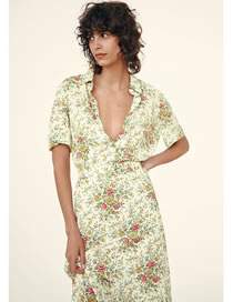 Fashion Floral Belt Print Dress