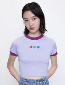 Fashion Purple Colorblock Daisy Print T-shirt