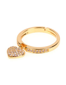 Fashion Section Two Love Ring With Micro Diamonds