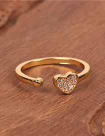 Fashion Golden Love Ring Heart-shaped Open Ring