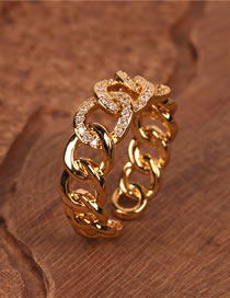 Fashion Golden Open Micro Ring With 8 Diamonds