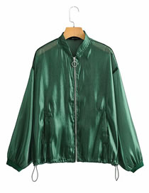 Fashion Green Translucent Flight Jacket Sun Protection Clothing