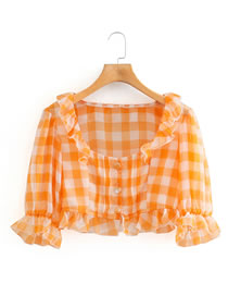 Fashion Orange Yellow Checked Puff Sleeve Top