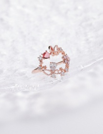 Fashion Pink Sparkling Diamond Zircon Flower Ring