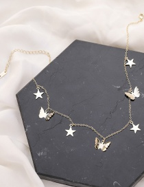 Fashion Golden Butterfly Five-pointed Star Tassel Clavicle Chain