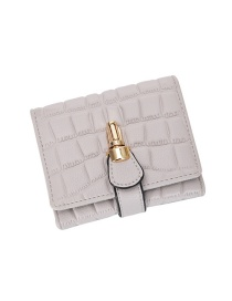 Fashion Gray Fold Wallet With Stone Pattern Lock