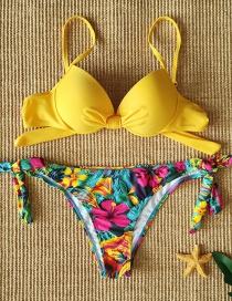 Fashion Flowers Like Golden Yellow Lace Print Split Swimsuit
