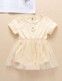 Fashion Beige Baby Embroidery Small Chrysanthemum Mesh Skirt