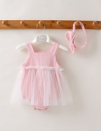 Fashion Light Pink Baby Mesh Skirt Suspender Bodysuit