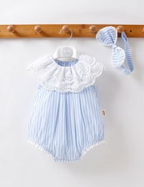 Fashion Light Blue Short Sleeve Baby Jumpsuit With Fart Stripe Lace