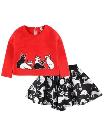 Fashion Red Cartoon Cat Sleeve Printed Short Skirt T-shirt 2 Piece Set