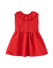 Fashion Red Doll Collar Dress