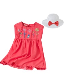 Fashion Red Hood Children's Cartoon Flower Embroidery Sleeveless Dress