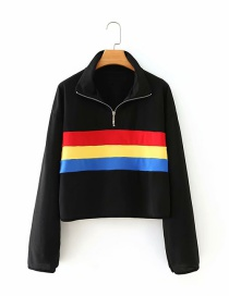 Fashion Black Color Stripe Stitching Zipper Stand Collar Sweater