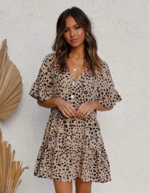 Fashion Leopard Print Leopard Print V-neck Dress