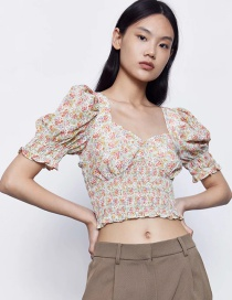 Fashion Small Floral Floral Pleated Top